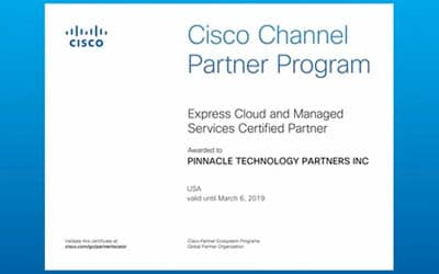 Pinnacle Technology Partners Achieves Cisco Cloud & Managed Services Certification